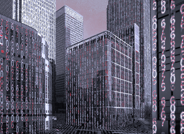 Financial district skyscrapers with big data matrix running along their walls